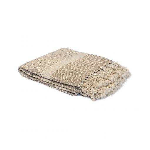 Ecru Beige 100% cotton throw from Paarizaat