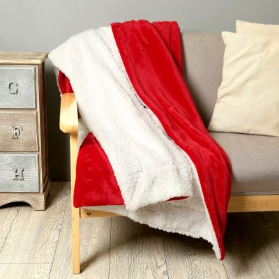 Crimson Faux-Fur Sherpa Throw by Paarizaat